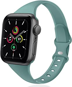 DYKEISS Sport Slim Silicone Band Compatible for Apple Watch Band 38mm 42mm 40mm 44mm, Thin Soft Narrow Replacement Strap Wristband for iWatch Series 5/4/3/2/1 Women & Men (Cactus, 42mm/44mm)