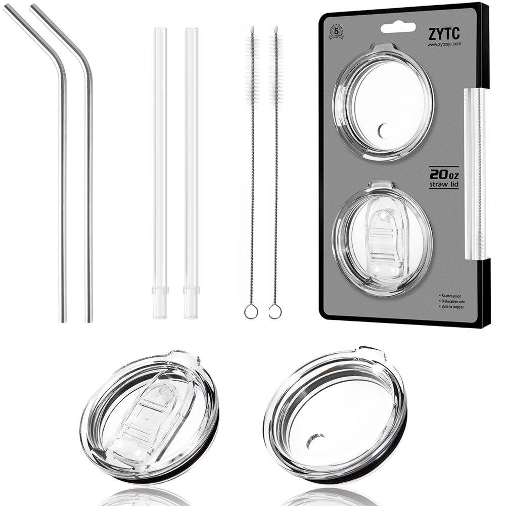 8 Piece Set for Yeti Straw 10 oz/20 oz,No Leak Sliding Closure 100% Spill Proof Straw Lid and Fits Yeti Rambler Tumbler,Ozark Trail Cup Or More Brand Stainless Steel Mugs by ZYTC