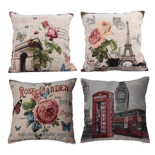 SPXUBZ CottonParis And London Commemorative Stamps For Tourism Pillow Cover Decorative Home Decor Great Gift Square Indoor/Outdoor Pillowcase Size: 24x24 Inch(Two Sides) Set of 4 -