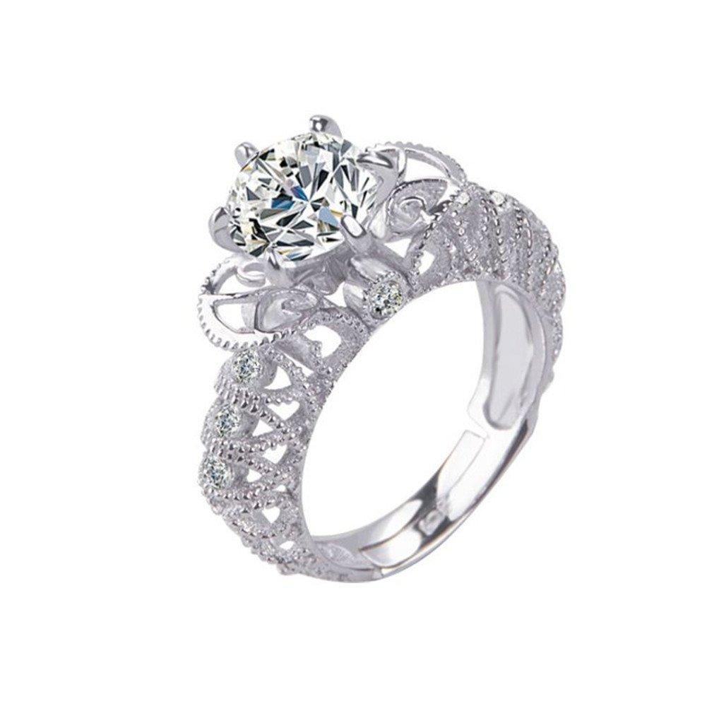 BIGBOBA anillo de plata hueca ajustable de apertura de compromiso anillo de boda pareja regalo joyas accesorios