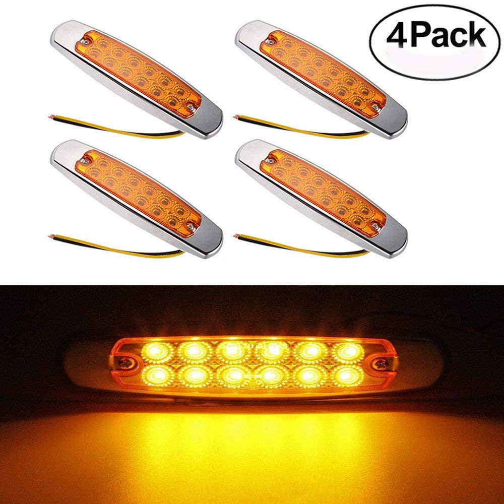 Haichen Pack of 4 Amber LED Side Marker Clearance Light 12LED Pigtail Connector Trailer Light 6.15'