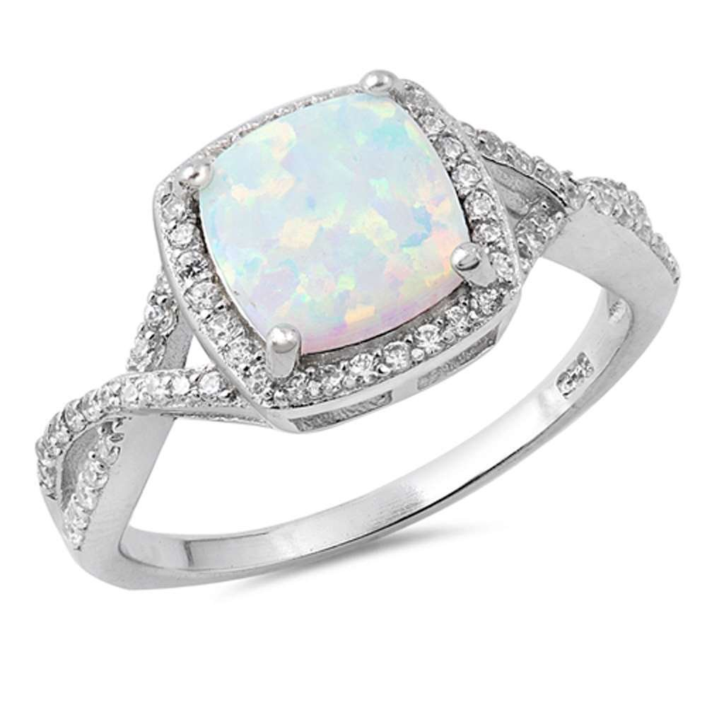 Infinity Style Twisted Prong Cubic Zirconia and White Opal .925 Sterling Silver Ring Size 7