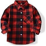 OCHENTA Little Kids Boys' Girls' Long Sleeve Button Down Plaid Flannel Shirt