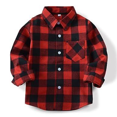 07f5957b7 OCHENTA Little Big Boys' Long Sleeve Button Down Shirt, Kid's Plaid Flannel  Tops E001