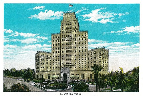 El Cortez Hotel in San Diego, CA (12x18 SIGNED Print Master Art Print w/Certificate of Authenticity - Wall Decor Travel Poster)