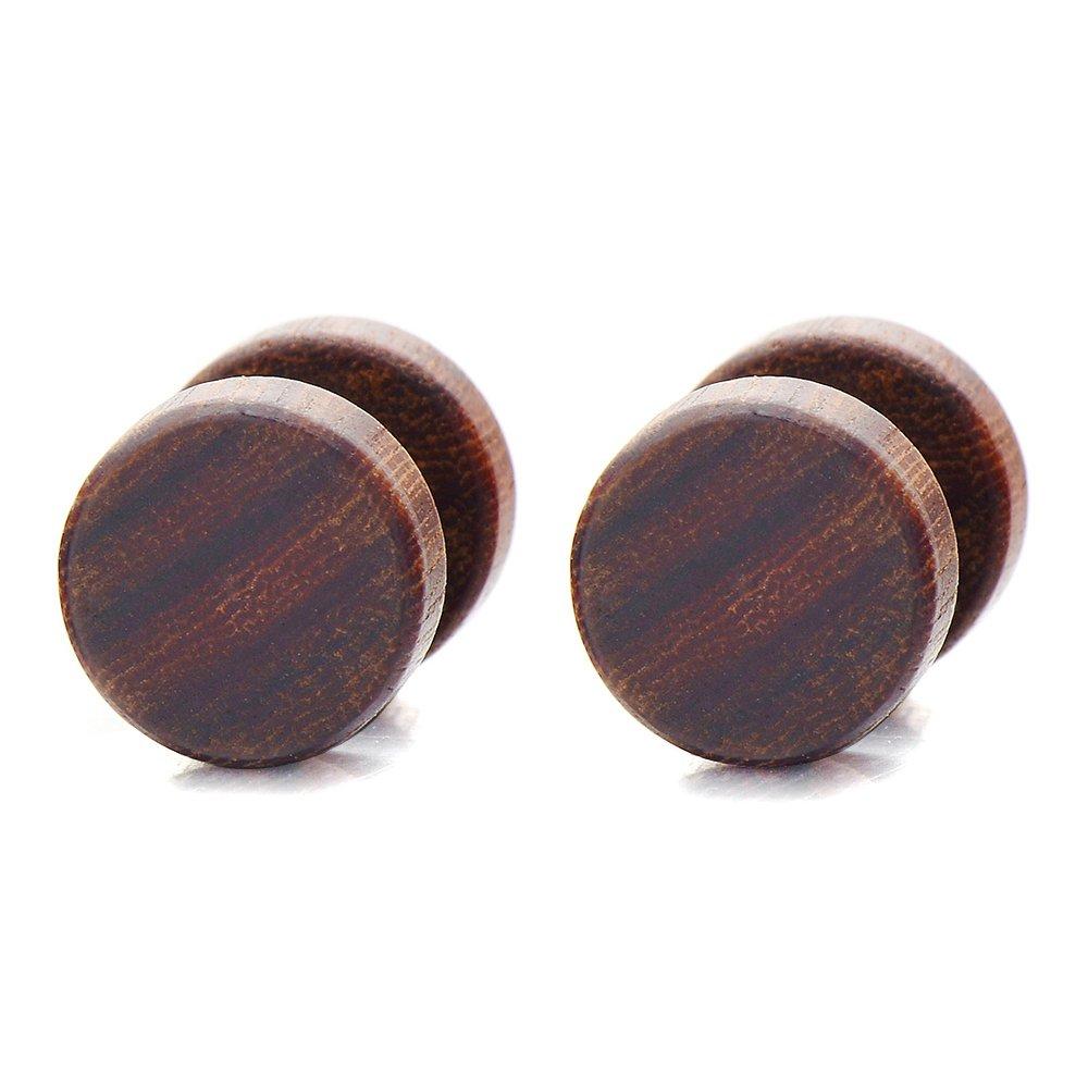 2pcs 8-10MM Wood Screw Stud Earrings for Men Women, Cheater Fake Ear Plugs Gauges Illusion Tunnel(CA) COOLSTEELANDBEYOND ME-428-CA