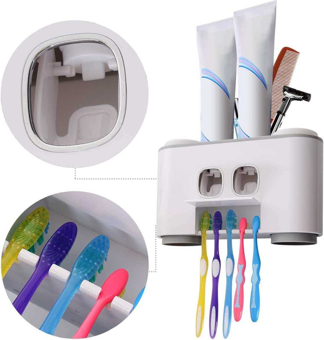 con 5 spazzolini e 4 Tazze Blu. FXY Set Dispenser Automatico di dentifricio e portaspazzolino