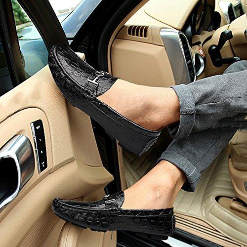 Clásicos Barco Mocasines En Planos De De Hombres Mocasines del Los Conducción La Resbalón Cubierta Zapatos De De MERRYHE Black1 Calzado Cuero Zapato qfOXtv