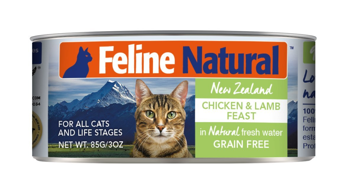 Canned Cat Food by Feline Natural - Perfect Grain Free, Healthy, Hypoallergenic Limited Ingredients - BPA-Free Wet Cat Food - Nutrition for All Cat Types - Chicken & Lamb - 3oz (24pack) by K9 Natural/Feline Natural