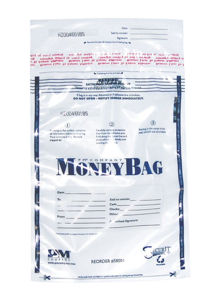 PM Company Disposable Deposit Bag, Clear, 12 x 16 Inches, 100 per Pack, 5 Packs (58004)