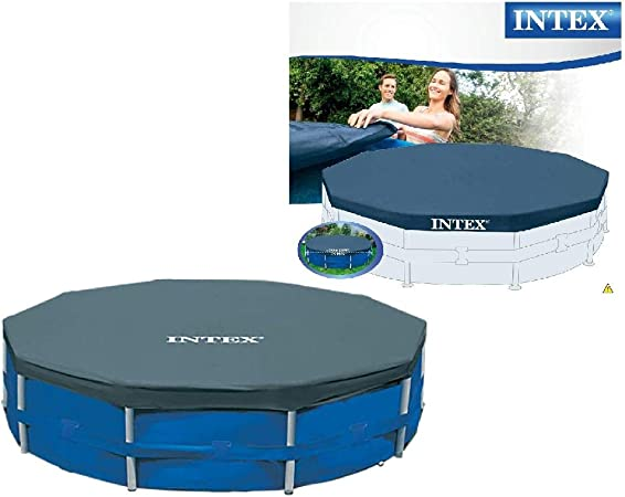 15 Foot Round Metal Frame Pool Cover w Drain Holes to Prevent Water Accumulation