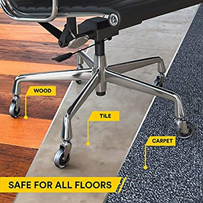 Amazon Com Office Chair Caster Wheels Replacement Set Of 5 Hardwood Floor Chair Wheels No Chair Mat Needed 3 Rollerblade Style Heavy Duty Desk Chair Casters With Soft Rubber Wheels