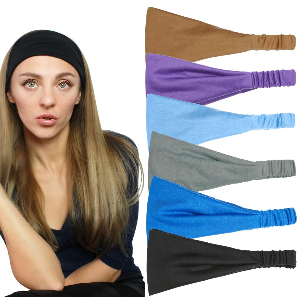 QING Headbands for Women Sweat Wicking Scarf Bandana Workout Headband Wrap Pack of 6: Sports & Outdoors