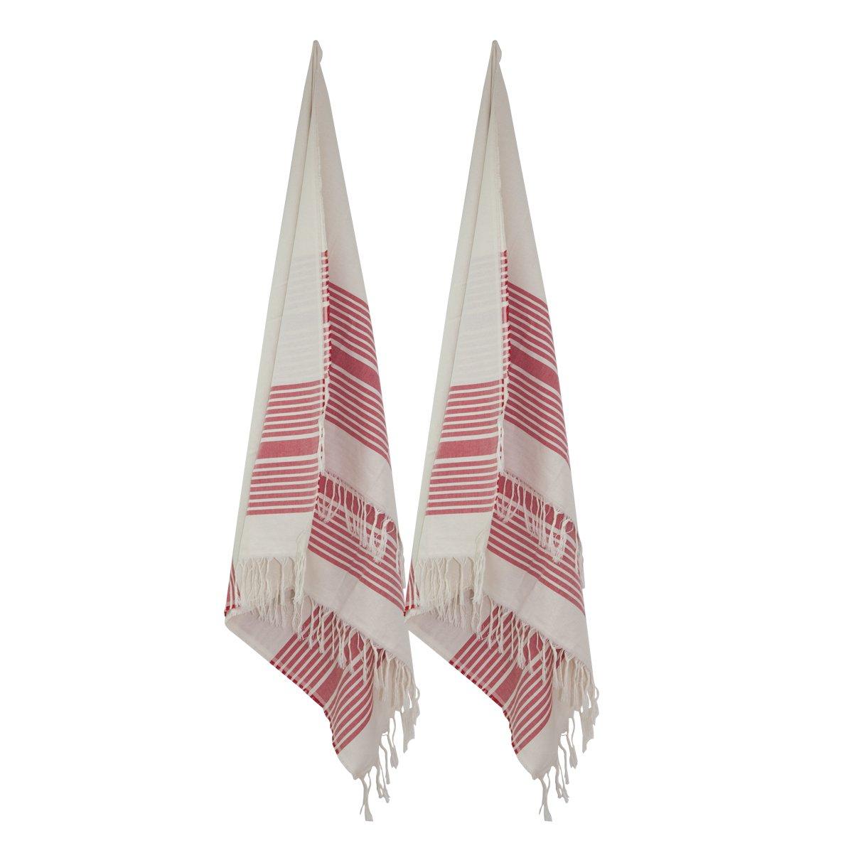 Decocasa Pack 2 Toallas Doble FAZ para Playa Piscina Pareo 100% Algodón -Rojo (Diseño 5): Amazon.es: Hogar