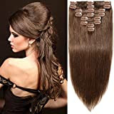 8″-10″ Thick Double Drawn Clip in Real Remy Human Hair Extensions 8 Piece 70g Thick To Ends #4 Medium Brown Review