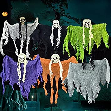 kicode halloween scary haunted halloween props hanging skull skeleton ghost cloth home garden party decoratio