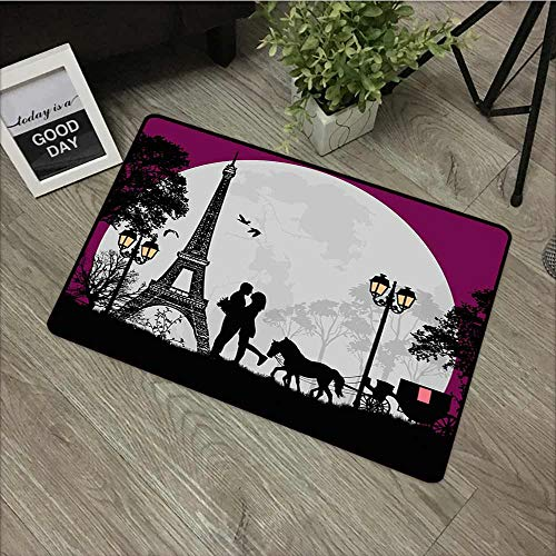 Washable Doormat Romantic Horse Carriage Couple Hugging in Front of The Eiffel Tower and Full Moon for Outdoor and Indoor 24