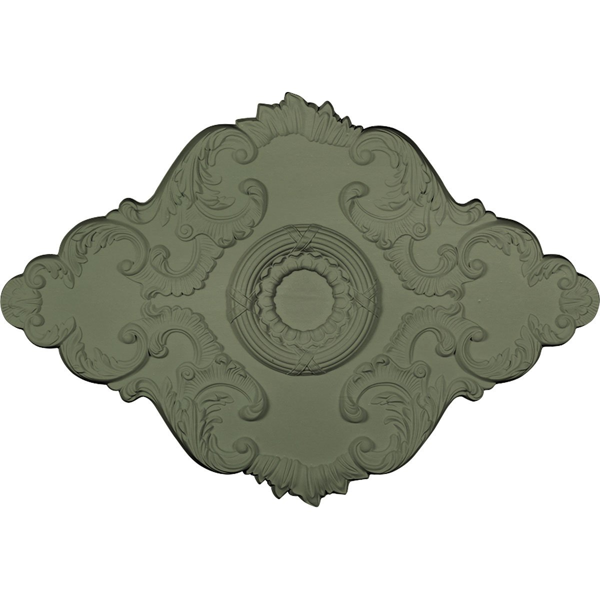 Ekena Millwork CM36X26PEAGF Pesaro Ceiling Medallion, 36'' W x 26'' H x 1 1/2'' P, Athenian Green