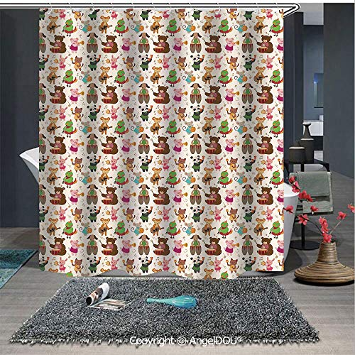 AngelDOU Music Polyester Waterproof Shower Curtain Toys Playing in A Band Teddy Bear Drums Kitty Obua Fox Panda Nursery Kids Cartoo for Bathroom Decoration with Free Hooks
