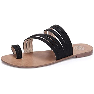 ac8c37fc2 CAMEL CROWN Women s Toe Ring Sandals Summer Flat Slide Sandals Strappy  Thong Sandals Casual Slip-