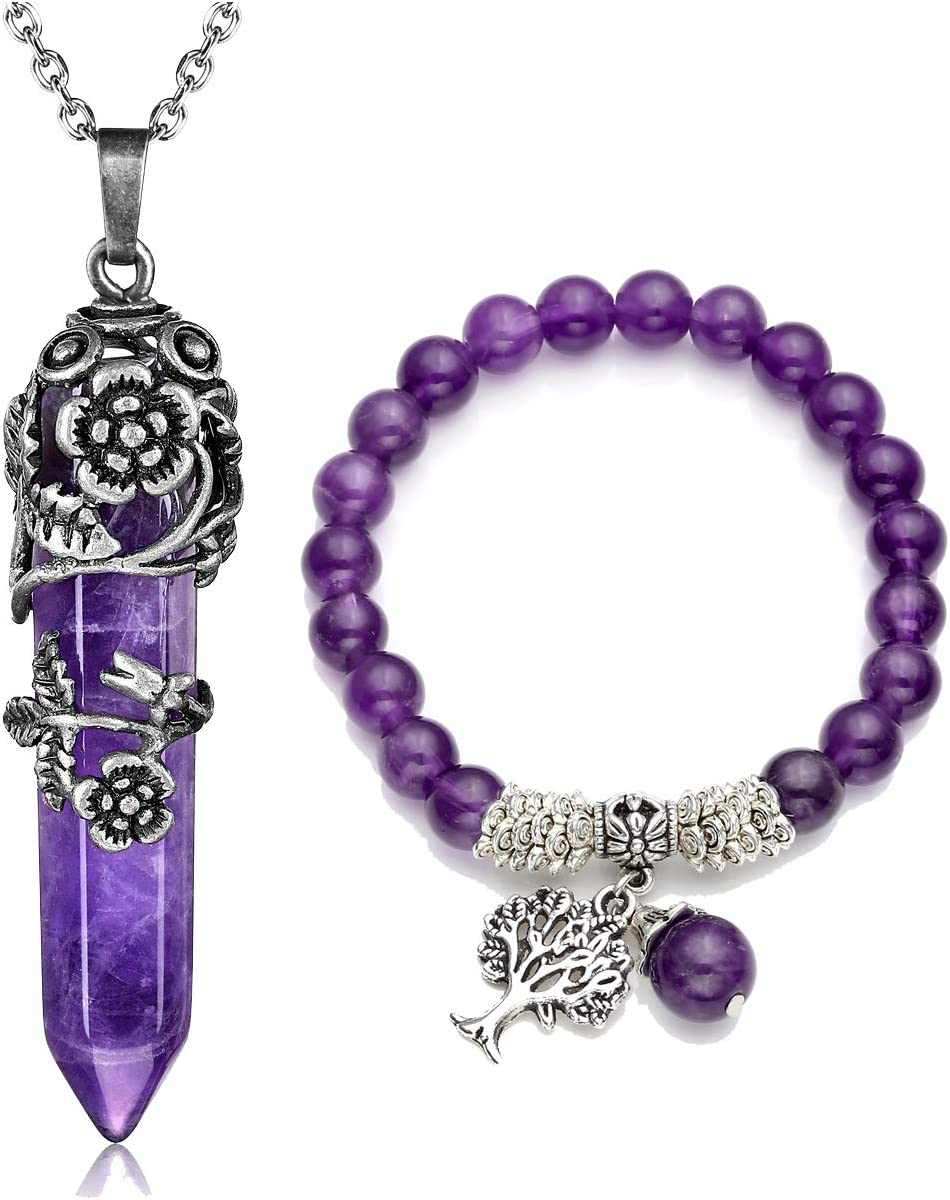 Charm bracelet Natural amethyst bracelet Amethyst jewelry