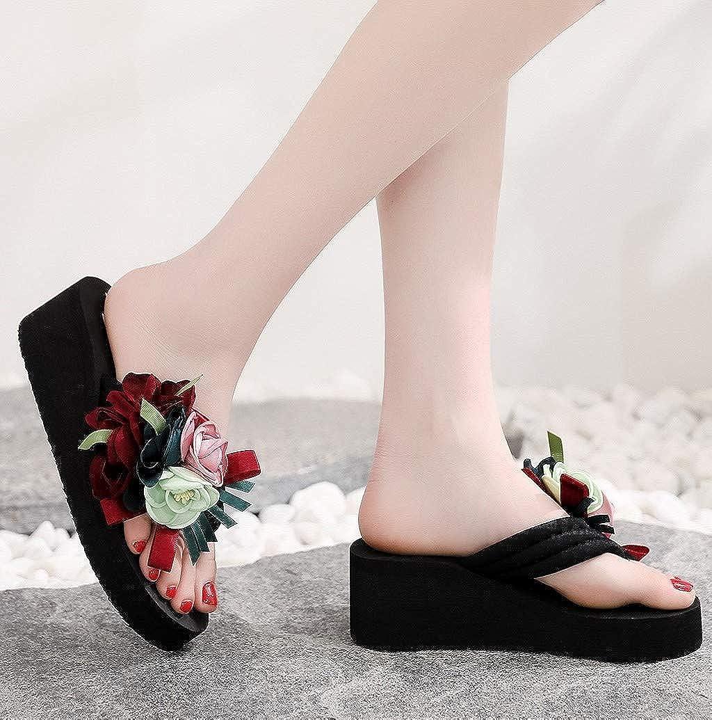 Nevera Women Platform Bohemia Floral Flip Flops Summer Casual Beach Thongs Slippers Sandals