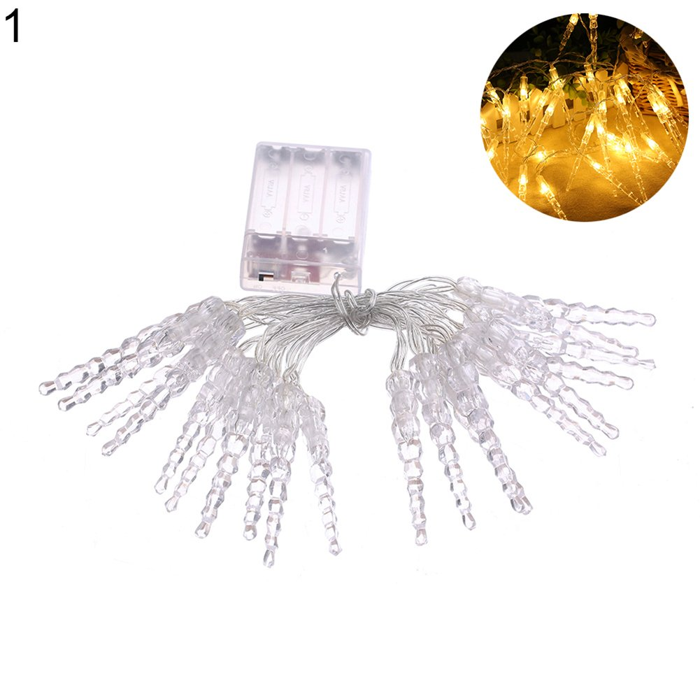FOReverweihuajz 20 LED Romantic Icicle Fairy String Light Battery Operated Christmas Wedding Party Decor Lamp Gift Multicolor