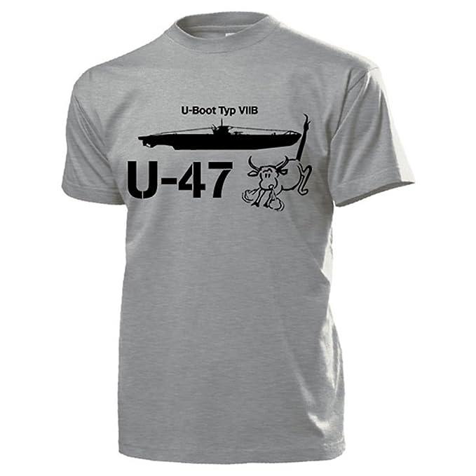 Copytec UBoot Tipo VIIb U47 Marino Toro Scapa Flow Günther Prien Acorazado Unterseeboot verschollen Escudo Nadadores Emblema - Camiseta Hombre Gris # 13220 ...