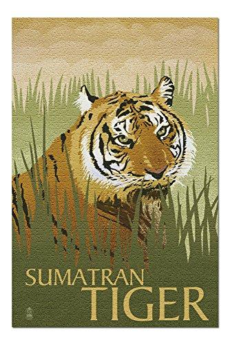 (Sumatran Tiger - Lithograph Series (20x30 Premium 1000 Piece Jigsaw Puzzle, Made in USA!) )