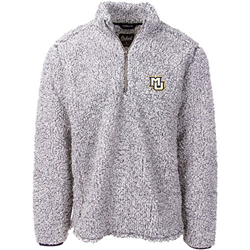 (NCAA Marquette Golden Eagles Adult Men Owen 1/4 Zip Heather Sherpa Pullover, Large, Classic Navy)