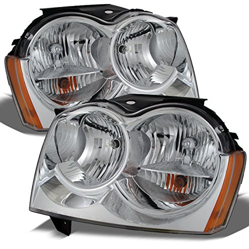 Jeep Grand Cherokee Replacement Headlights Driver/Passenger Chrome Head Lamps Pair New