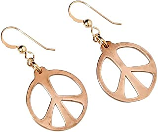 product image for Medium Peace Symbol Peace Bronze Earrings on French Hooks
