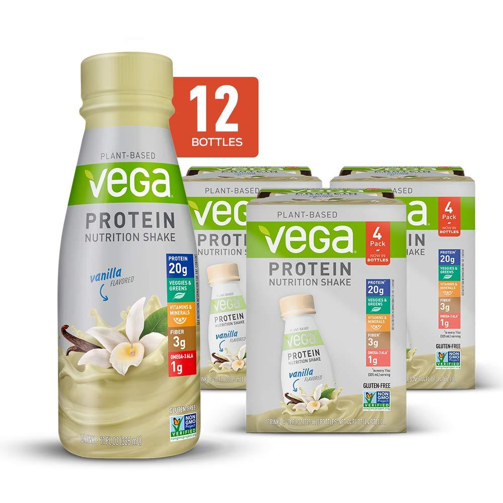 Vega Protein Nutrition Shake Vanilla - Ready to Drink, Plant Based Vegan Protein, Gluten Free, Dairy Free, Soy Free, Vegetarian, Vitamins, Non GMO, 11 Fl Oz (12 Count) by VEGA