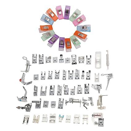 MagiDeal 52 Piezas Conjunto Pie Prensatelas Máquina de Coser Artesanía de Costura y 50 Piezas Clips