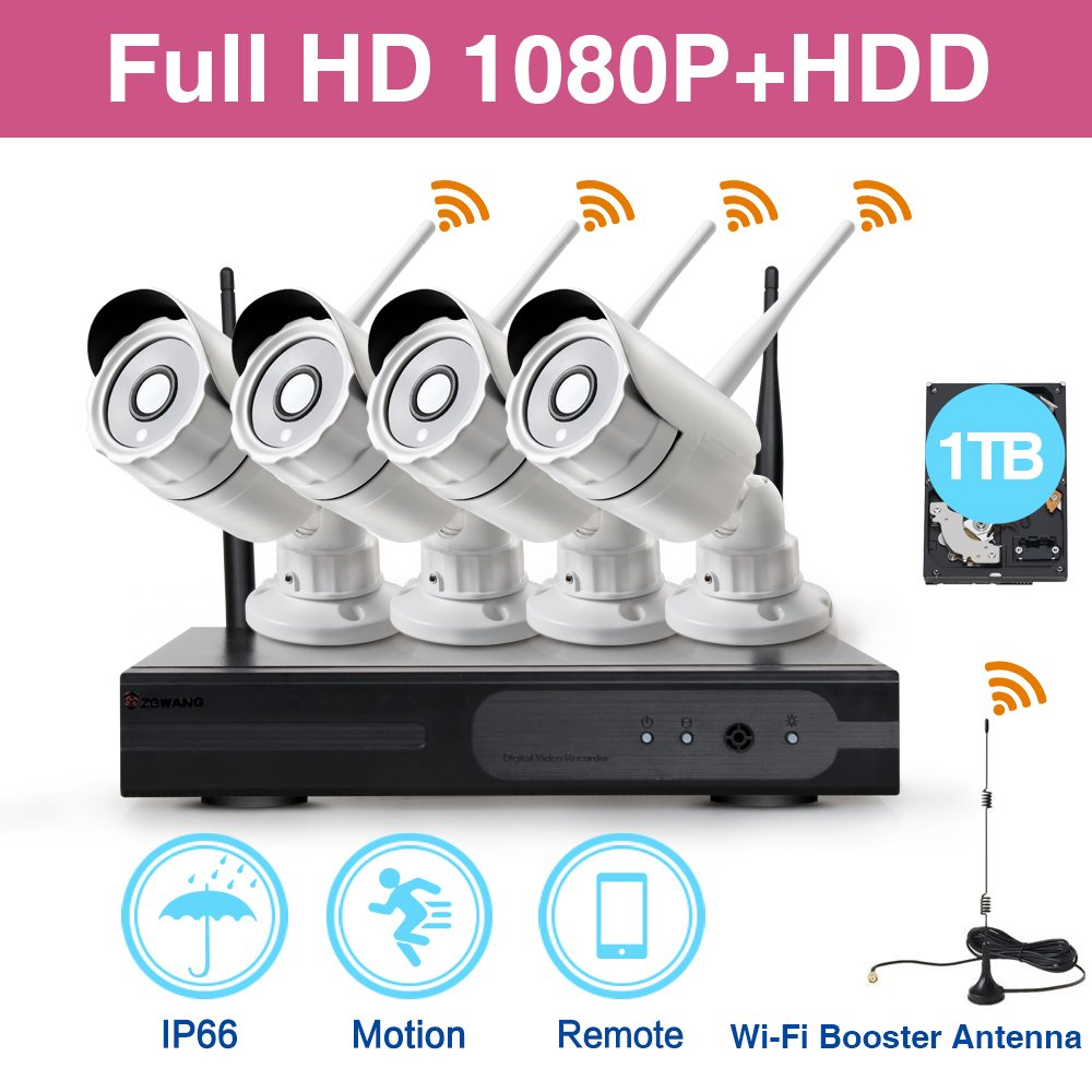 Zgwang 1080P HD Wi-Fi Wireless Security Camera System with 1TB Hard Drive - 4pcs 2.0 Mega Pixels Indoor/Outdoor IP Cameras - WiFi Easy Installation No Video Cables Needed