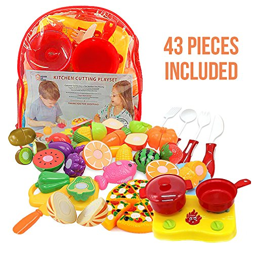 Kitchen Toys Cutting Fruit Vegetables Play Fun Cooking Little Stove top, Pot and Utensils 43 Pieces Pizza & Knife Toy, Cutting Board. Pretend Cutting Food Playset Carry Bag for Girls Boys
