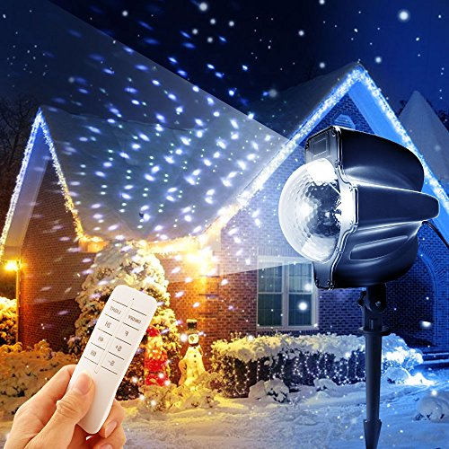 1000 Remote Control Spotlight (Ranipobo Snowfall LED Light Projector Christmas Party Indoor Outdoor Lights Remote Control Timing Spot Snowflake Lighting Waterproof Spotlights for Landscape Halloween Holiday)