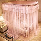 U-shaped telescopic mosquito net, Floor stand Princess Double Home Bed canopy-D Queen2