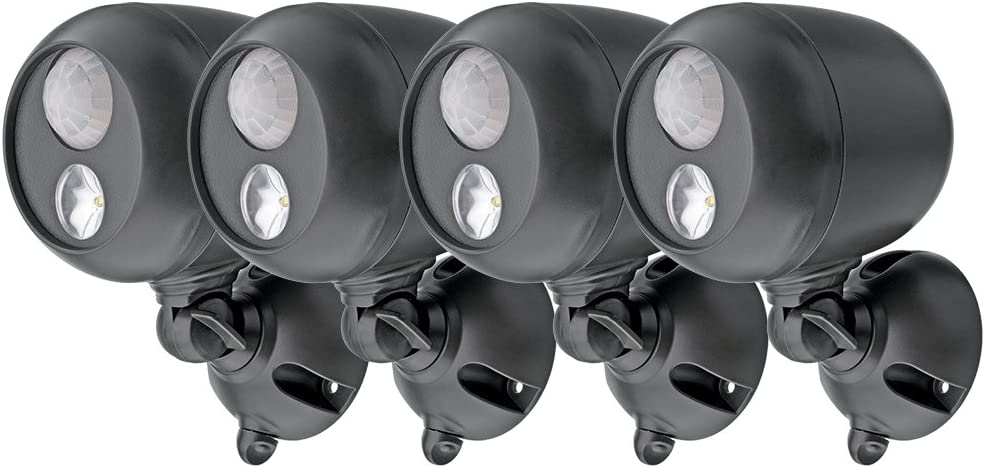 Mr. Beams MB364 Wireless LED Spotlight with Motion Sensor and Photocell, Dark Brown (Pack of 4)