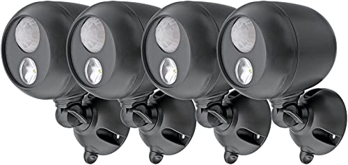 Mr. Beams MB364 Wireless LED Spotlight with Motion Sensor and Photocell, Dark Brown Pack of 4