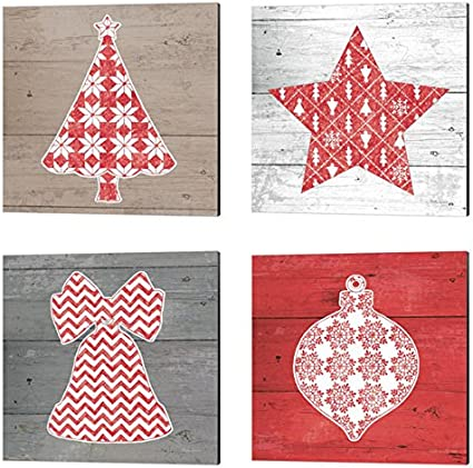 Nordic Holiday By Beth Grove Canvas Set Of 4 Art Pieces 14 X 14 Inches Each Christmas Art Posters Prints Amazon Com