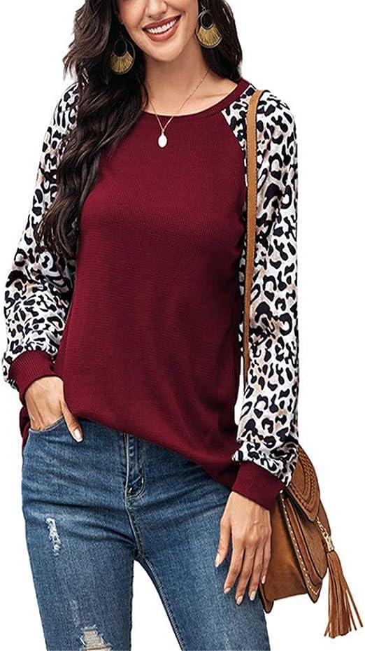 Camisa Mujer otoño e Invierno Cuello Redondo Estampado Leopardo Camiseta Manga Larga: Amazon.es: Ropa y accesorios