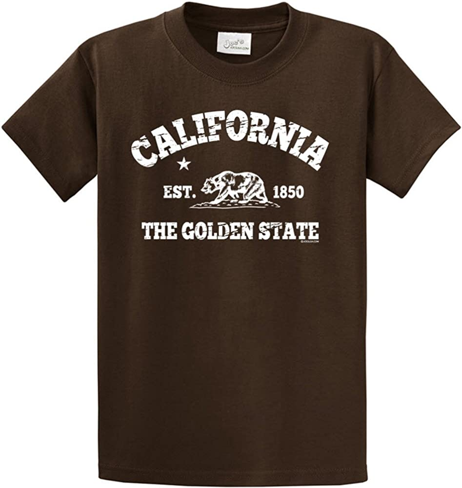 Joes USA tm California Est 1850 T-Shirts in Size 4X-Large Tall -4XLT Brown