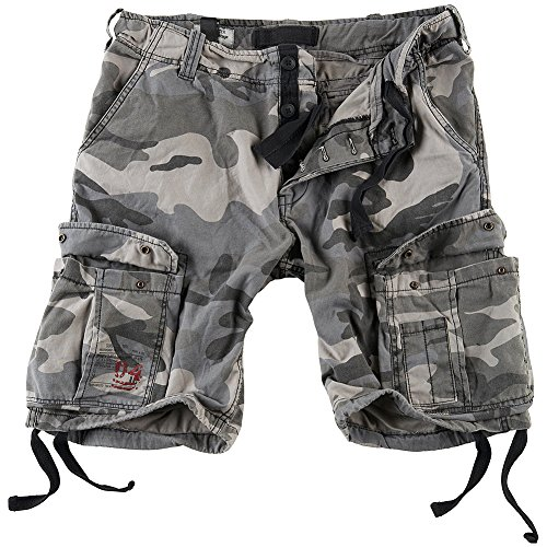 Surplus Men's Airborne Vintage Shorts Washed Night Camo Size ()
