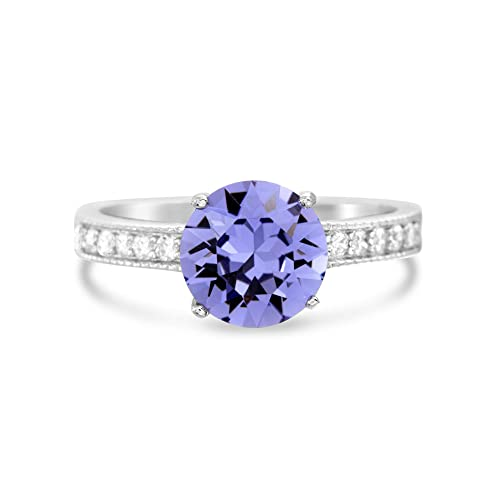 9dce9d818 Devin Rose Round Center Solitaire Engagement Ring for Women in Rhodium  Plated 925 Sterling Silver Made
