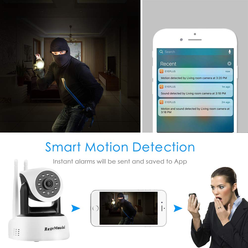 RegeMoudal Wireless Camera, 1080P WiFi IP Camera Wireless Indoor Camera  1920×1080 Resolution IP Baby Monitor with Night Vision Motion Pet Monitor,