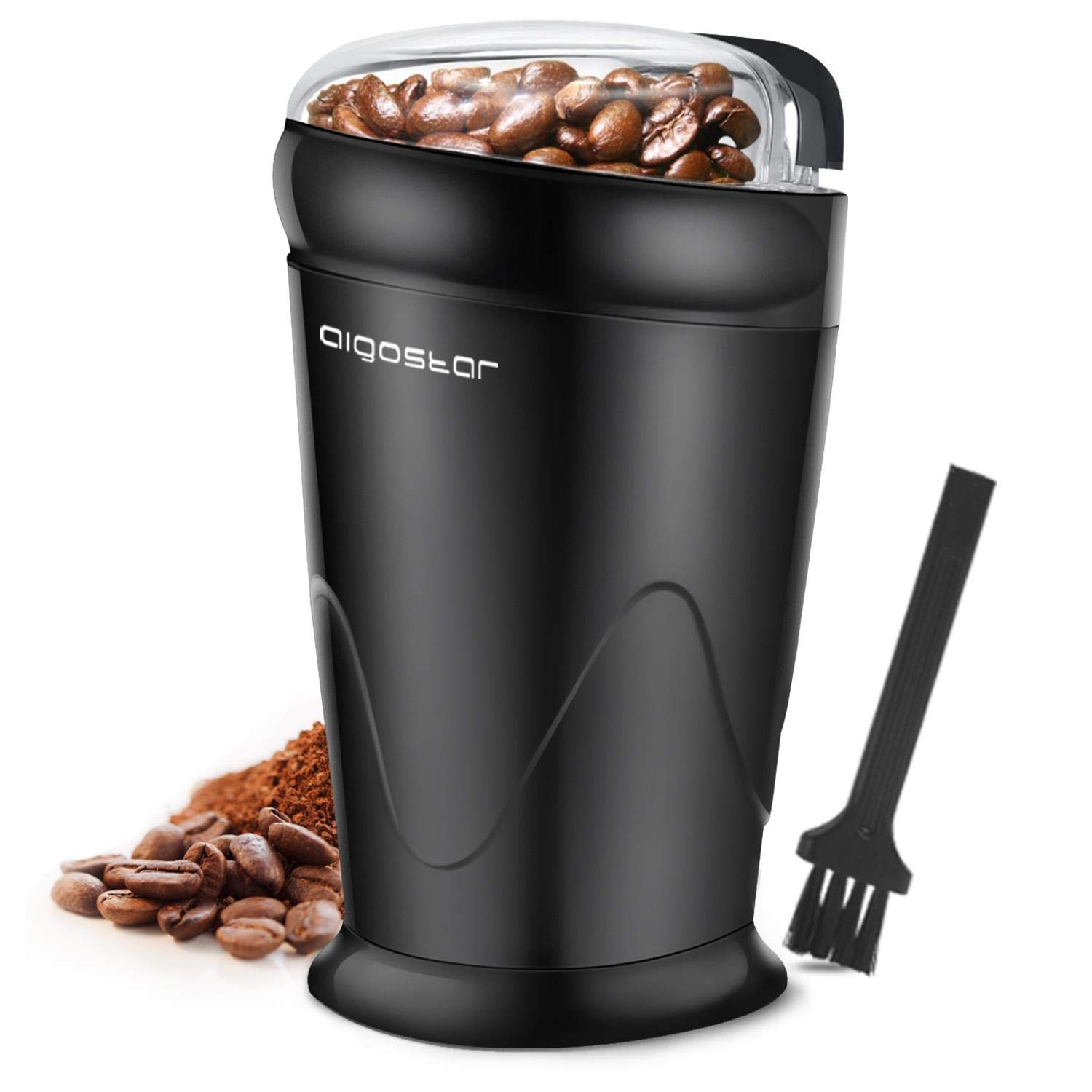 AIGOSTAR Coco- Electric Coffee Grinder with Stainless Steel Blades | Grinds Coffee Beans, Spices, Nuts and Grains | One-Touch, 60g, Black