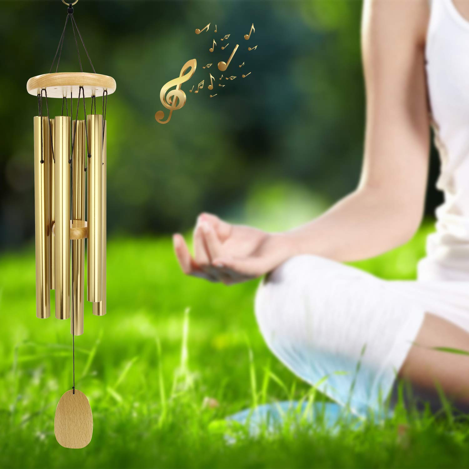 Wind Chimes Outdoor, Wind Chimes for People Who Like Their Neighbors, Sympathy and Memorial Wind Chimes with Amazing Grace Sound, Perfect Decorative Decor for Garden, Patio, Yard and Indoor (Bronze)