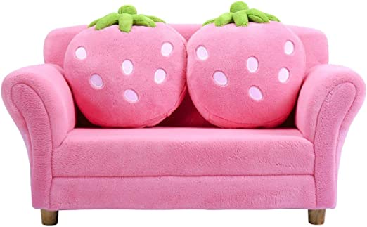 Costzon Kids Sofa With 2 Cute Strawberry Pillows Children Couch Armrest Chair Double Seats Toddler Lounge Bed 2 In 1 Wooden Frame And Coral Fleece