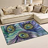 Naanle Peafowl Area Rug 1.8'x2.7′, Peacock Feather Polyester Area Rug Mat for Living Dining Dorm Room Bedroom Home Decorative For Sale